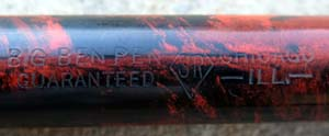 HUGE BIG BEN PEN IN RED MOTTLED HARD RUBBER
